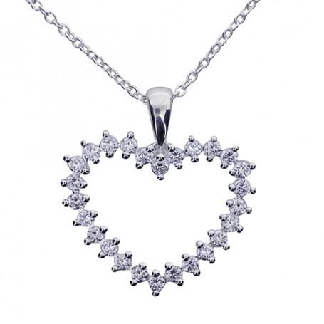 Hjärtsmycke med glitterstenar 1-10-0007  Halsband 36cm till 50cm 495,00kr