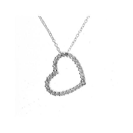 Glitterhjärta på snedden 1-10-0010  Halsband 36cm till 50cm 498,00kr