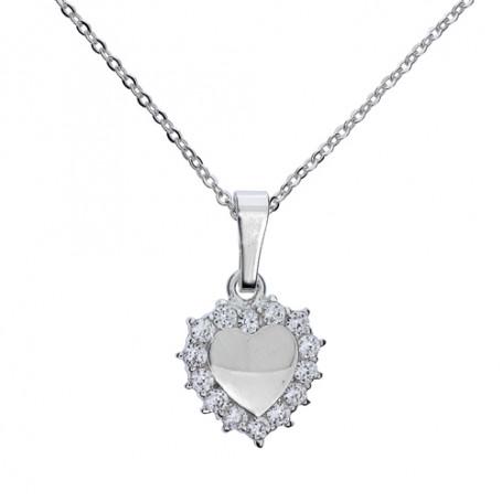 Silverhjärta med glitterstenar 1-10-0034  Halsband 36cm till 50cm 395,00kr