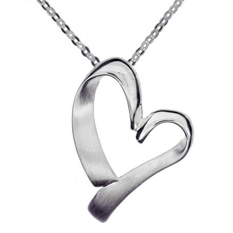 Matterat vridet hjärta 1-10-0065  Halsband 36cm till 50cm 499,00kr