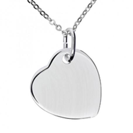 Hjärta på snedden i äkta silver 1-11-0013  Halsband 36cm till 50cm 299,00kr