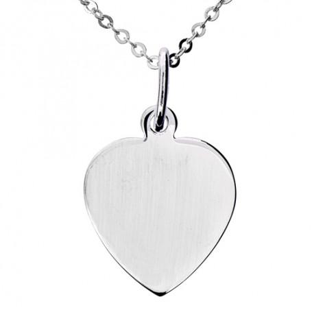 Blankt platt hjärta i äkta silver 1-11-0015  Halsband 36cm till 50cm 269,00kr