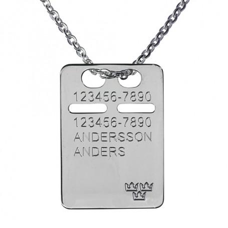 ID-bricka silver med gravyr, kedja ingår 1-11-0043-1K  Halsband med gravyr 379,00kr