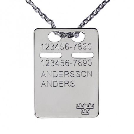 ID-bricka silver med gravyr, kedja ingår 1-11-0044-1K  Halsband med gravyr 379,00kr