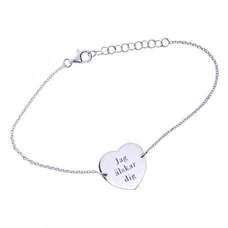 Armband med hjärta, gravyr ingår 1-40-0020-1  Hem 399,00kr
