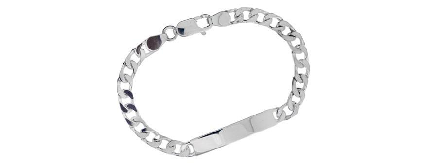 Armband till män i äkta silver, stål, läder eller guld. ID-armband med bricka som går att gravera på. Pansarlänkar i olika bredder och längder. Kejsarlänk. Ankarlänk. Läderarmband från Arock Man.  Snyggt att kombinera flera armband tillsammans.