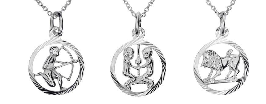 Smycken och halsband med stjärntecken i äkta silver 925.