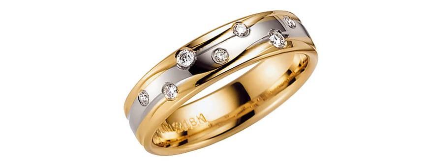 Flerfärgade guldringar - ringar med blandade guldfärger som vanligt guld, gult, rosé och vitguld