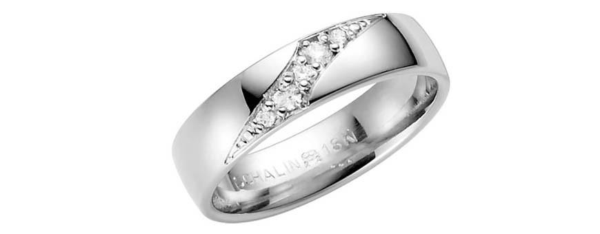 Vitguldsringar med diamanter Dala Guldsmide