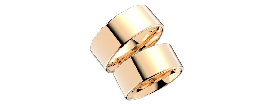Schalins ringar i guld, förlovningsringar och vigselringar släta och mönstrade utan stenar. Kupade och raka guldringar från din