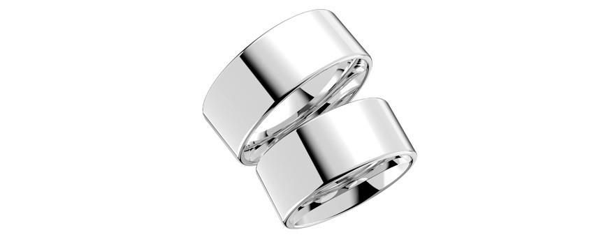 Schalins ringar i vitguld. Förlovningsringar och vigselringar i vitt guld tillverkade i Sverige. | Dala Guldsmide