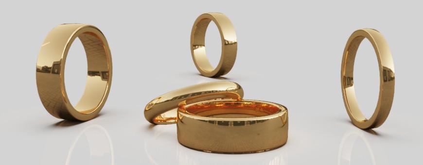 Släta ringar guld