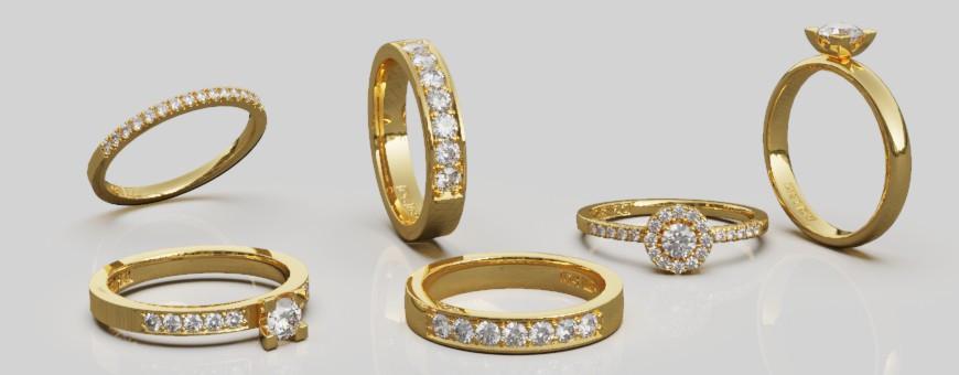 Diamantringar guld