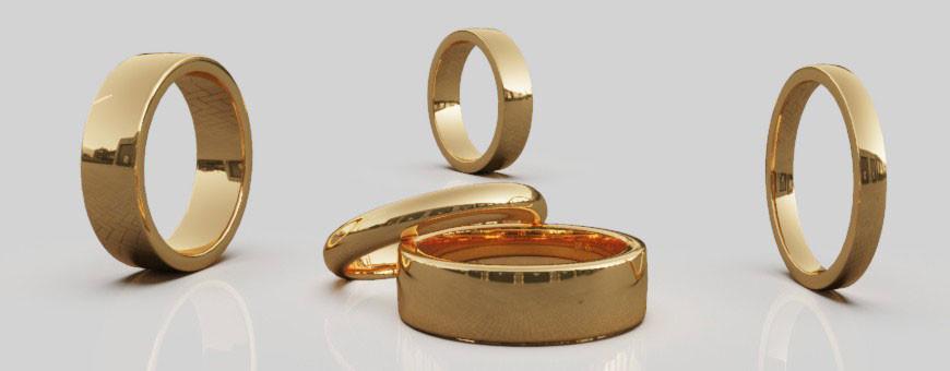 Släta ringar i 14 karat guld från Dalecarlia Love Collection | Dala Guldsmide